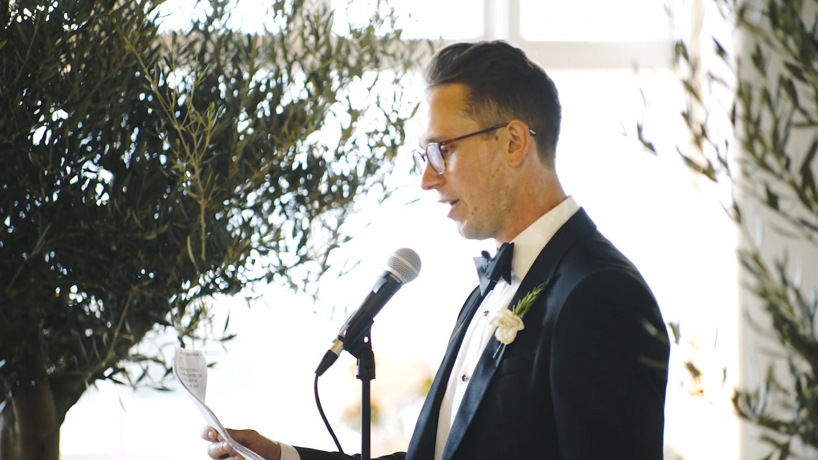 A groom gives his speech